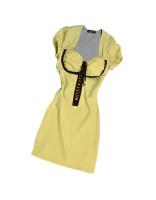 Pistachio & Brown Trim Silk Short Sleeve Tunic